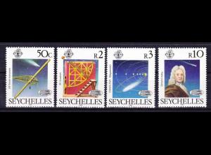 Seychellen, Nr. 601-04, Halleyscher Komet, Meridianfernrohr, Quadrant, E. Halley
