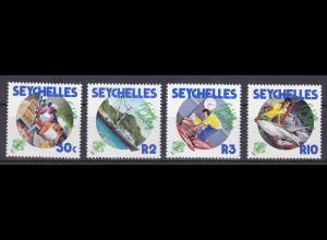 Seychellen, Nr. 649-52, Fischereiwesen, Fischfabrik, Fischwaage, Fischereischiff
