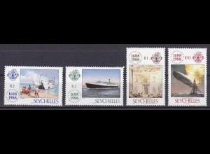 Seychellen, Nr. 672-75, 300 J. Lloyds, Brand des Luftschiffes LZ-129 Hindenburg