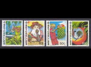 Seychellen, Nr. 680-83, Weihnachten 1988, Weihnachtsmann mit Geschenken
