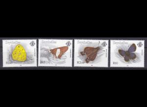 Seychellen, Nr. 790-93, Schmetterlinge: Eurema floricola, Borbo borbonica ...