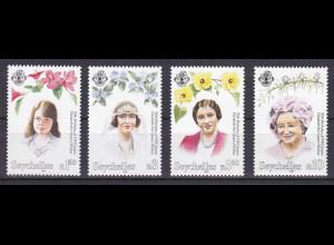 Seychellen, Nr. 794-97, 95. Geburtstag von Königsmutter Elisabeth (1900-2002)