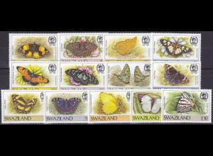 Swaziland, Nr. 515-27, Schmetterlinge: Graphium leonidas, Colotis regina ....