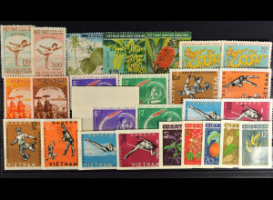 Vietnam, Motivbriefmarken aus JG 1953-68, neun komplette Sätze, siehe Bilder