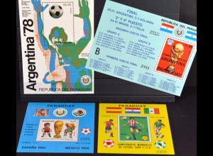 Paraguay, Fußball-Weltmeisterschaft, 4 Blockausgaben a. JG 1978+84, siehe Bilder