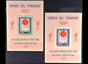 Paraguay 1964, Olympische Sommerspiele Tokio, Block 50+51, siehe Bilder