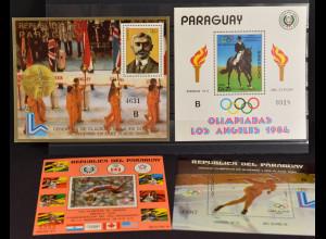 Paraguay, Olympia und Sportausgaben a. JG 1976-84, 4 Blockausgaben, siehe Bilder