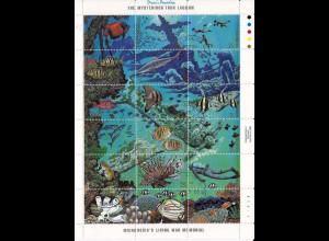 Mikronesien 1988, Unterwasserwelt, Michel Nr. 101-18. 1 Kleinbogen, Trúk-Lagune