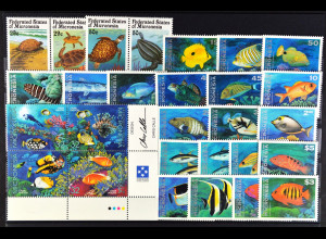 Mikronesien, Unterwasserwelt - Fische aus JG 1991-95, 8 kpl. Sätze, siehe Bilder