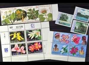 Mikronesien, Pflanzen + Landschaften JG 1989-95, 3 Sätze + 1 Klbg., Orchideen