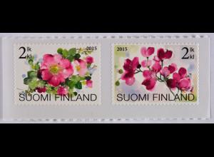 Finnland Finland 2015, Michel Nr. 2383-84, Blumen, Wildrose, Orchidee, 2 Werte