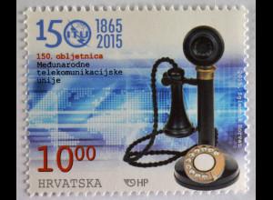Kroatien Croatia 2015, Michel Nr. 1183, 150 Jahre ITU, Historisches Telefon
