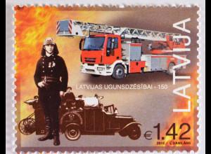 Lettland Latvia 2015, Michel Nr. 946, 150 Jahre Feuerwehr, Brandbekämpfung