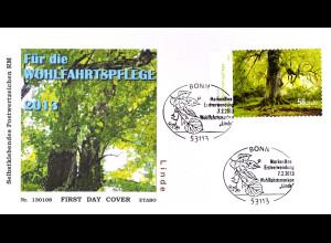 BRD Ersttagsbrief FDC 2013 Nr. 2986 Wohlfahrt Blühende Bäume skl. aus Rolle