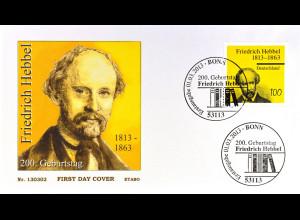 BRD Ersttagsbrief FDC MiNr. 2990 200. Geburtstag von Friedrich Hebbel 2013