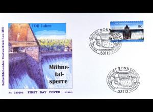 BRD Ersttagsbrief FDC Nr. 3009 100 Jahre Möhnetalsperre selbstklebend 2013