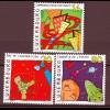 Luxemburg 1999 Michel Nr. 1481-83 **, Unterwegs in Richtung Zukunft:Cartoons (I)
