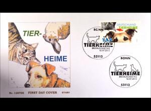 Bund BRD Germany Ersttagsbrief FDC 2012 Nr. 2945 Tierheime Hund Katze Fisch