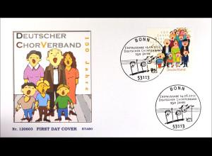 Bund BRD Ersttagsbrief FDC 2012 Nr. 2939 150 Jahre Deutscher Chorverband