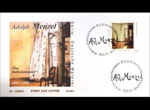 Bund BRD Ersttagsbrief FDC 2012 Nr. 2937 Deutsche Malerei Adolph Menzel