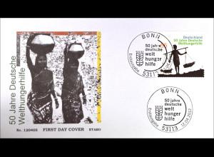 Bund BRD Ersttagsbrief FDC 2012, Nr. 2928, 50 Jahre Deutsche Welthungerhilfe