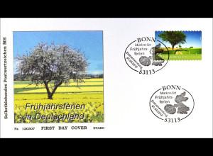 Bund BRD Ersttagsbrief FDC 2012, Nr. 2923, Post: Ferien in Deutschland -Frühling