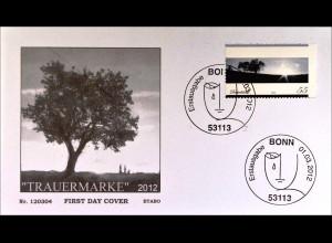 Bund BRD Deutschland Germany Ersttagsbrief FDC 2012, Nr. 2920, Trauermarke (II)