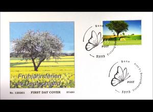 Bund BRD Ersttagsbrief FDC 2012, Nr. 2917, Post: Ferien in Deutschland -Frühling