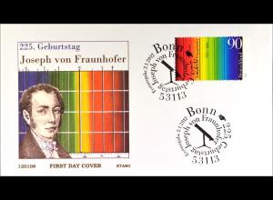 Bund BRD Ersttagsbrief FDC 2012, Nr. 2907, Joseph von Fraunhofer, Optiker