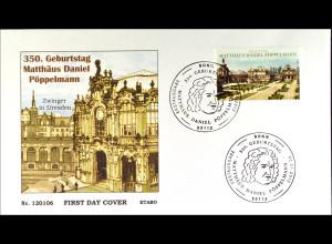 Bund BRD Ersttagsbrief FDC 2012, Nr. 2905, 350. Geb. Matthäus Daniel Pöppelmann
