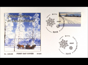 Bund BRD Ersttagsbrief FDC 2012, Nr. 2904, Post: Ferien in Deutschland - Winter