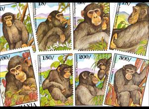 Schimpansen Motivsatz mit 8 Werten Muttertier mit Junge Schimpanse frißt