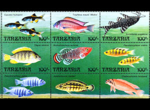 Fische Kleinbogen mit 12 Werten Marienbrustbarsch Schmetterlingsbarbe