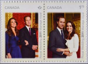 Kanada 2011, Mi.-Nr. 2716-17, Hochzeit von Prinz William und Catherine Middleton