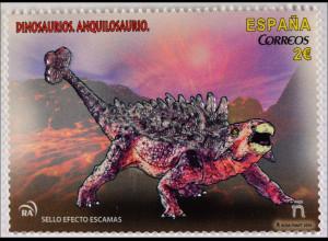 Dinosaurier Briefmarken mit Glitzersteinen Ankylosaurus Tyrannosaurus