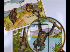 Schimpansen 2 Blockausgaben Primaten bei der Futtersuche und beim Spielen