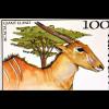 Fauna und Flora Ostafrikas Satz mit 8 Werten Zwerggrünficher auf Tulpenbaum