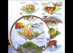 Tiere der Wildnis Satz mit 8 Werten Antilope Riesenwaldschwein Wasserbock