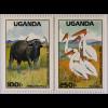 Tiere der Savanne Satz mit 4 Werten Giraffen Zebras Wasserbüffel Pelikane