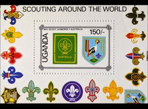 Pfadfinder aller Welt Weltpfadfindertreffen in Australien Briefmarkenblock