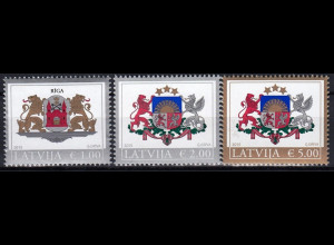 Lettland Latvia 2015 Michel Nr. 935-37 Freimarken Grosse Wappen