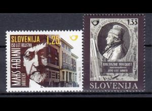 Slowenien Slovenia 2015 Mi.Nr. 1130 und 1131 Balthasar Hacquet und Max Fabiani