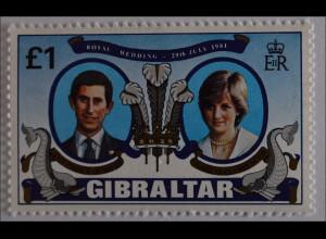 Gibraltar 1981, Michel Nr. 422, Hochzeit v. Prinz Charles u. Lady Diana Spencer