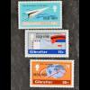 Gibraltar 1981, Michel Nr. 426-28, 50 Jahre Flugpost, Flugzeug umkreist Erdkugel