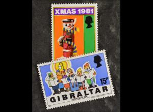 Gibraltar 1981, Michel Nr. 430-31, Weihnachten , singende Kinder und Briefkasten