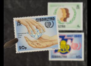 Gibraltar 1985, Michel Nr. 497-99, Internationales Jahr der Jugend