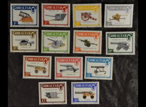 Gibraltar 1987, Nr. 525-37, Geschütze: Haubitze, Pfünder Kanone, Mörser, Falk ..