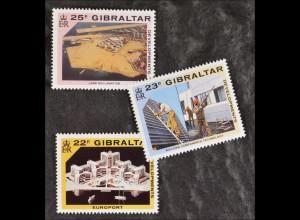 """Gibraltar 10. Oktober 1990, Michel Nr. 606-08, Entwicklungsprojekte """"Europort"""""""