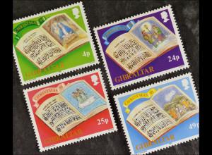 Gibraltar 15. Oktober 1991, Michel Nr. 628-31, Weihnachten: Weihnachtslieder
