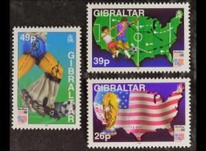 Gibraltar 14.04.1994, Michel Nr. 687-89, Fußball-Weltmeisterschaft in den USA